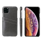 iPhone 11 Pro Max hoesje, Lederen hardcase met vakjes voor pasjes, zwart_