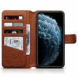 Apple iPhone 11 Pro Max hoesje, MobyDefend luxe echt leren bookcase, Cognac bruin_