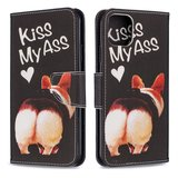 iPhone 11 Pro Max hoesje, 3-in-1 bookcase met print, varkentje, kiss my ass_