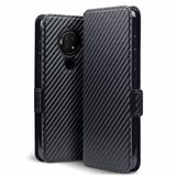 Nokia 6.2 / Nokia 7.2 hoesje, MobyDefend slim-fit carbonlook bookcase, Zwart_