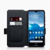 Nokia 6.2 / Nokia 7.2 hoesje, MobyDefend slim-fit echt leren bookcase, Zwart_