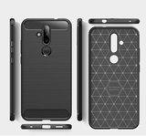 Nokia 6.2 / Nokia 7.2 hoesje, gel case brushed carbonlook, zwart_