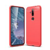 Nokia 6.2 / Nokia 7.2 hoesje, gel case brushed carbonlook, rood_