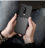 OnePlus 7T hoesje, gel case geribbelde structuur, zwart_