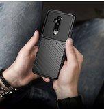 OnePlus 7T hoesje, gel case geribbelde structuur, groen_