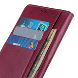 Samsung Galaxy A31 hoesje, Luxe wallet bookcase, Rood-paars_