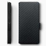 Samsung Galaxy A31 hoesje, MobyDefend slim-fit carbonlook bookcase, Zwart_