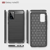 Samsung Galaxy Note 20 hoesje, Gel case geborsteld metaal en carbonlook, Zwart_
