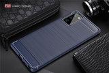 Samsung Galaxy Note 20 hoesje, Gel case geborsteld metaal en carbonlook, Navy blauw_