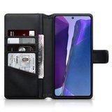 Samsung Galaxy Note 20 hoesje, MobyDefend luxe echt leren wallet bookcase, Zwart_