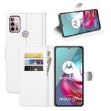 Motorola Moto G30 / G20 / G10 hoesje, MobyDefend Kunstleren Wallet Book Case, Wit_