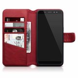 Samsung Galaxy A8 (2018) hoesje, MobyDefend luxe echt leren bookcase, Rood_