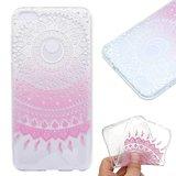 Huawei P Smart hoesje, gel case doorzichtig met print, wit-roze patroon_