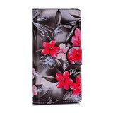 Sony Xperia Z5 Compact hoesje, 3-in-1 bookcase, rode bloemen_