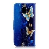 Samsung Galaxy A6 (2018) hoesje, 3-in-1 bookcase met print, goud-blauwe vlinders_