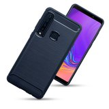 Samsung Galaxy A9 (2018) hoesje, gel case carbon look, navy blauw_
