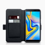 Samsung Galaxy J6 Plus hoesje, MobyDefend slim-fit echt leren bookcase, Zwart_