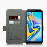Samsung Galaxy J6 Plus hoesje, MobyDefend slim-fit extra dunne bookcase, Zwart_