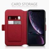 Apple iPhone XR hoesje, echt lederen 3-in-1 bookcase, rood_