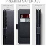 Huawei P30 Lite hoesje, echt leren 3-in-1 bookcase, zwart_