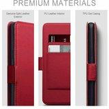 Huawei P30 Pro hoesje, MobyDefend slim-fit echt leren bookcase, Rood_