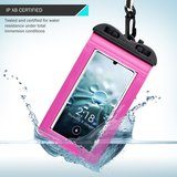 Waterdicht universeel telefoonhoesje, waterproof case, roze_