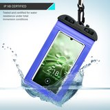 Waterdicht universeel telefoonhoesje, waterproof case, blauw_