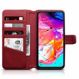 Samsung Galaxy A70 hoesje, MobyDefend luxe echt leren bookcase, Rood_