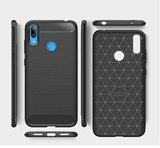 Huawei Y7 (2019) hoesje, gel case brushed carbonlook, zwart_