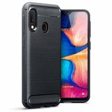 Samsung Galaxy A20e hoesje, gel case brushed carbonlook, zwart_