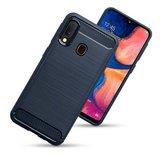 Samsung Galaxy A20e hoesje, gel case brushed carbonlook, navy blauw_