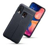 Samsung Galaxy A20e hoesje, gel case lederlook, zwart_