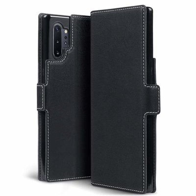 Samsung Galaxy Note 10 Plus hoesje (Note 10+), MobyDefend slim-fit extra dunne bookcase, Zwart
