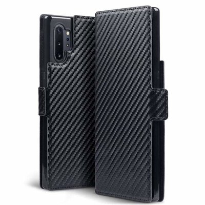 Samsung Galaxy Note 10 Plus hoesje (Note 10+), MobyDefend slim-fit carbonlook bookcase, Zwart