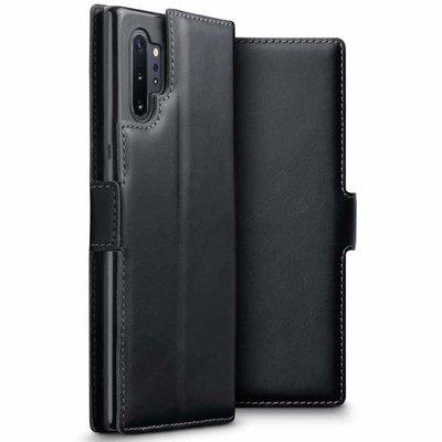 Samsung Galaxy Note 10 Plus hoesje (Note 10+), MobyDefend slim-fit echt leren bookcase, Zwart