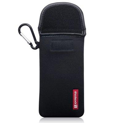 Hoesje voor Nokia 9 PureView, Shocksock neopreen pouch met karabijnhaak, insteekhoesje, zwart