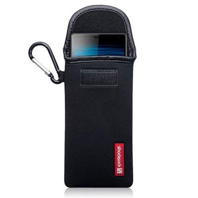 Hoesje voor Sony Xperia 10, Shocksock neopreen pouch met karabijnhaak, insteekhoesje, zwart