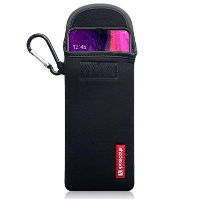 Hoesje voor Samsung Galaxy A50 / A30S, Shocksock neopreen pouch met karabijnhaak, insteekhoesje, zwart