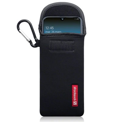 Hoesje voor Samsung Galaxy A40, Shocksock neopreen pouch met karabijnhaak, insteekhoesje, zwart