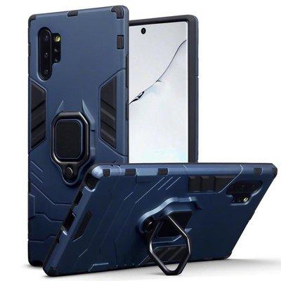 Samsung Galaxy Note 10 Plus hoesje (Note 10+), dubbel gelaagde pantser case met standaard, navy blauw