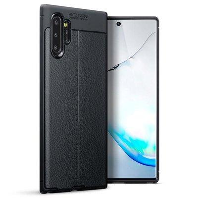 Samsung Galaxy Note 10 Plus hoesje (Note 10+), gel case lederlook, zwart