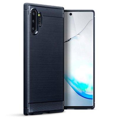 Samsung Galaxy Note 10 Plus hoesje (Note 10+), gel case brushed carbonlook, navy blauw