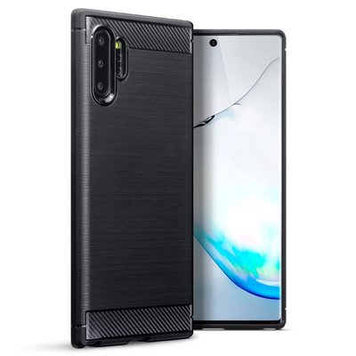 Samsung Galaxy Note 10 Plus hoesje (Note 10+), gel case brushed carbonlook, zwart