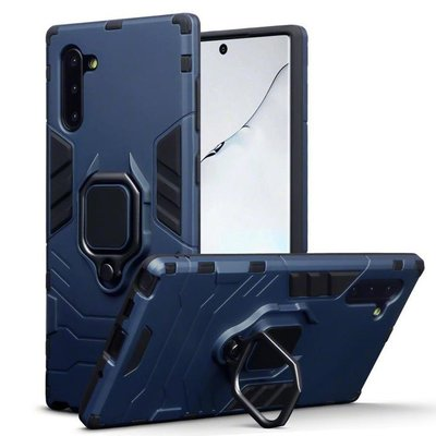 Samsung Galaxy Note 10 hoesje, dubbel gelaagde pantser case met standaard, navy blauw