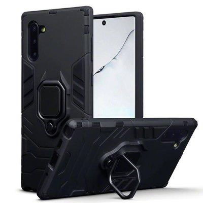 Samsung Galaxy Note 10 hoesje, dubbel gelaagde pantser case met standaard, zwart