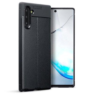 Samsung Galaxy Note 10 hoesje, gel case lederlook, zwart