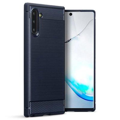 Samsung Galaxy Note 10 hoesje, gel case brushed carbonlook, navy blauw