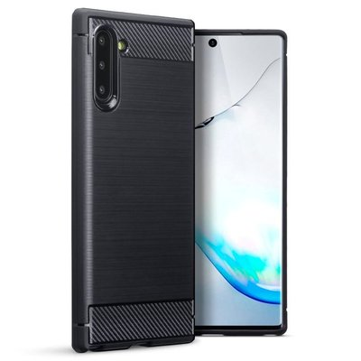 Samsung Galaxy Note 10 hoesje, gel case brushed carbonlook, zwart