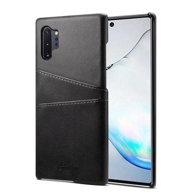 Samsung Galaxy Note 10 Plus hoesje (Note 10+), Lederen hardcase met vakjes voor pasjes, zwart