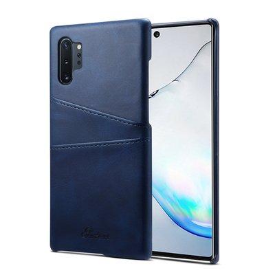 Samsung Galaxy Note 10 Plus hoesje (Note 10+), Lederen hardcase met vakjes voor pasjes, blauw